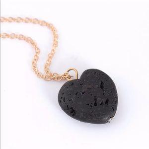 Jewelry - Black Heart Lava Essential Oil Diffuser Necklace
